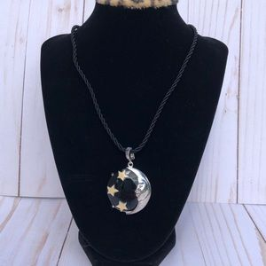 Sterling Onyx and enamel moon enhancer on cord